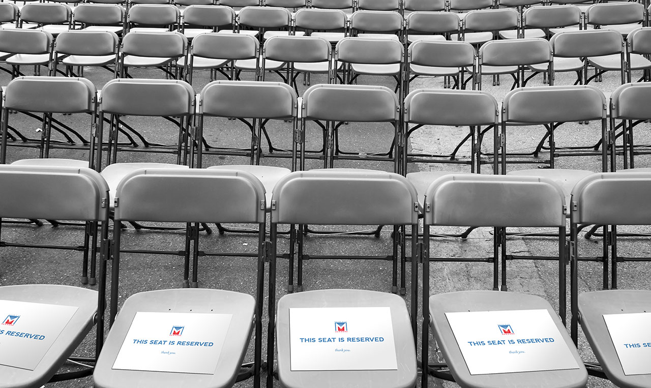 Mike Summers Campaign Announcement Event reserved seat signs.