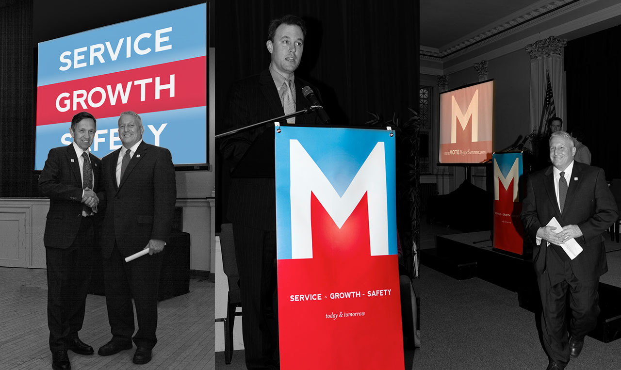 Mike Summers Campaign Announcement Event banner and Powerpoint screens.